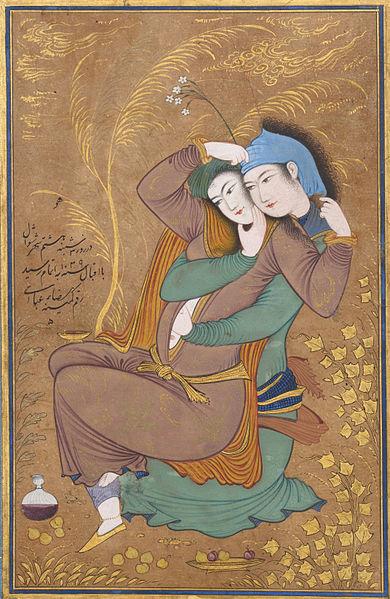 عشقبازی، مینیاتوری از رضا عباسی