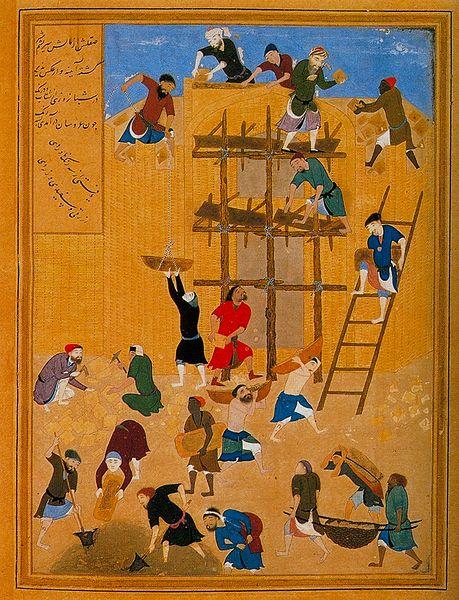 ساختن قصر خورنق، اثری از استاد کمالالدین بهزاد